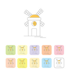 windmill or mill line icons set with shadow vector image