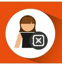 Woman with box safe money icon graphic vector