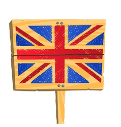 Wooden plate with British flag vector image vector image