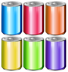 Cans in six different colors vector