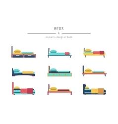 Set bed outline vector
