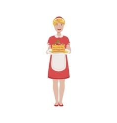 Hotel professional maid serving breakfast vector