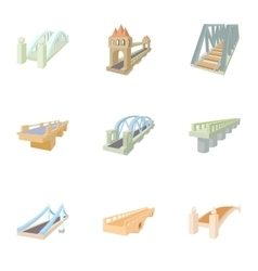 Bridge transition icons set cartoon style vector