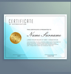 Diploma certificate design with blue modern shapes vector