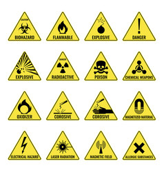 Hazard warning triangual yellow icon set on white vector
