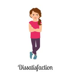 Cartoon little girl dissatisfaction feeling vector