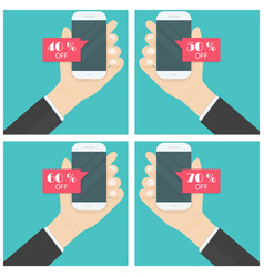 Businessman hand and smart phone icon with vector