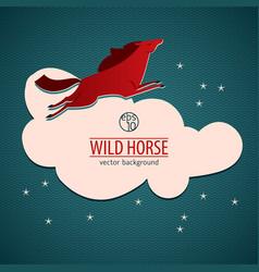 Red wild horse emblem vector