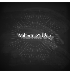 Valentines day lettering emblem on the blackboard vector