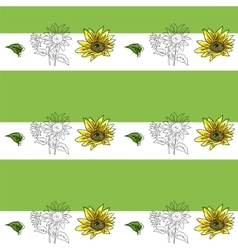 The composition of yellow sunflower vector