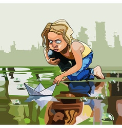 Cartoon baby let the boat in the water vector