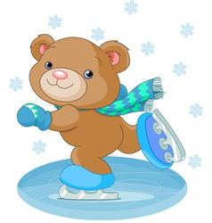 Bear on ice skates vector