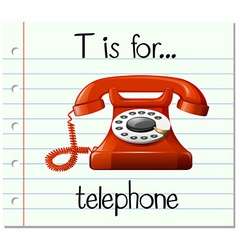 Flashcard letter t is for telephone vector
