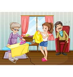 People doing chores in the house vector image