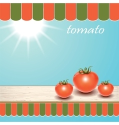 Red fresh tomatoes on the table by the window vector