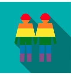 Gay couple in rainbow colors icon flat style vector