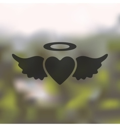 heart angel icon on blurred background vector image