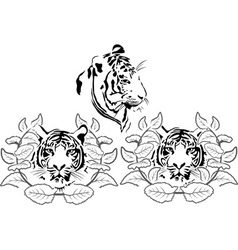 Tiger head stencil set vector