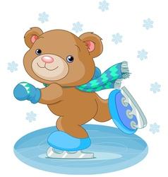 Bear on ice skates vector