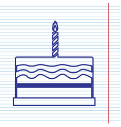Birthday cake sign navy line icon on vector
