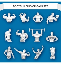 Bodybuilding polygonal white vector