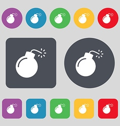 Bomb icon sign a set of 12 colored buttons flat vector
