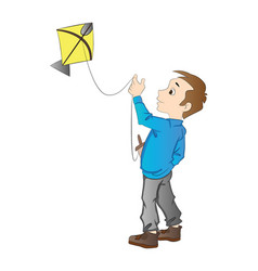 boy flying a kite vector image vector image