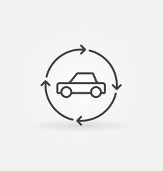 car in circular arrows linear icon vector image