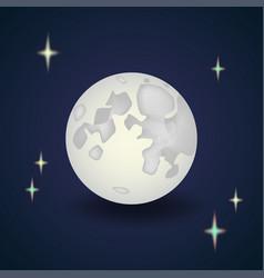 cartoon full moon with stars night wallpaper vector image