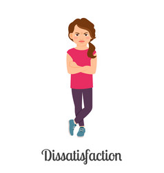 Cartoon little girl dissatisfaction feeling vector