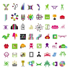 Collection of icons of furniture vector