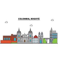 Colombia bogota outline city skyline linear vector