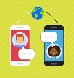 Couple speak cell smart phone chat social network vector