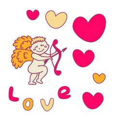Cupid with a bow for Valentines Day vector image vector image