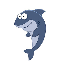 cute cartoon shark sea animals vector image