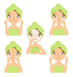 Different types of facial cosmetic masks vector