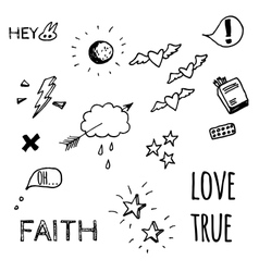 Doodle style sketches on Love theme vector image vector image