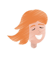 Drawing portrait girl smiling vector