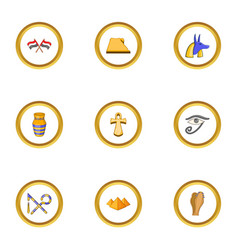 egypt archeology icons set cartoon style vector image vector image