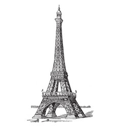 eiffel tower first and second levels vintage vector image