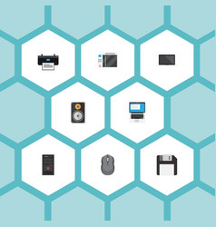 Flat icons amplifier laptop monitor and other vector