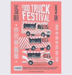 Food truck festival poster flyer template vector