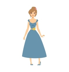 Full body young blonde top model woman in blue vector