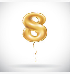golden number 8 eight metallic balloon party vector image vector image