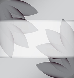 Gray flowers corner and transparent white ribbon vector