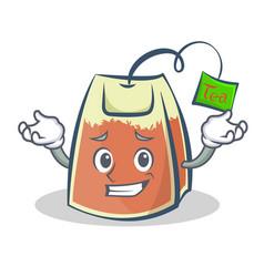 Grinning tea bag character cartoon art vector