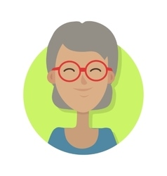 Hat isolated old woman smiling and in red glasses vector