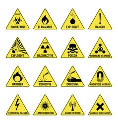 Hazard warning triangual yellow icon set on white vector