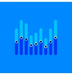 Infographics with blue overlapping bars and dotted vector image