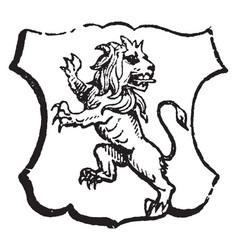 Lion rampant regardant is an animal looking vector